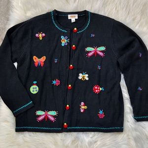 🐞🦋Talbots bug appliqué button front cardigan